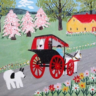Maud Lewis--Horse and Buggy painting, Oil on Beaverboard