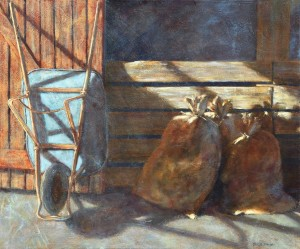 Bonnie Brooks--Blue Wheelbarrow (Acrylic)