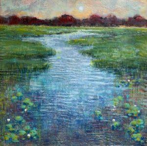 Sarah Hunter--Day's End (Encaustic 24 x 24) $1200