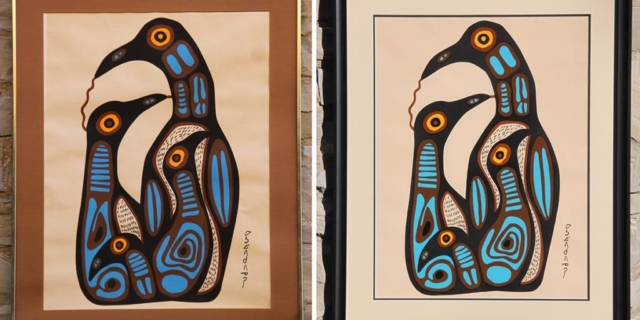 Creative Framing a couple of frame version of same Norval Morrisseau