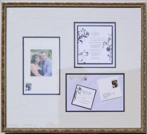 Creative Faming of a multi part wedding keepsake