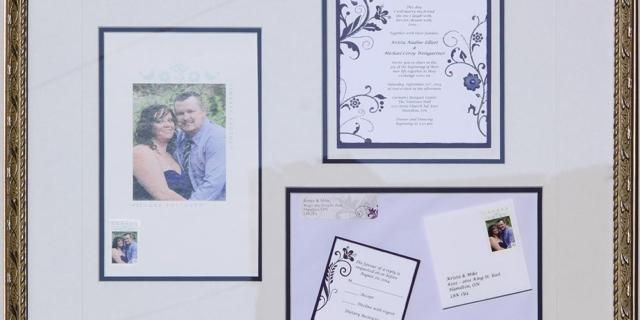 Creative Faming of a multi part wedding keepsake