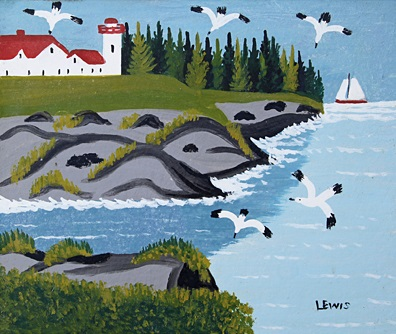 Maud Lewis--Seagulls and Lighthouse painting, Oil on Beaverboard