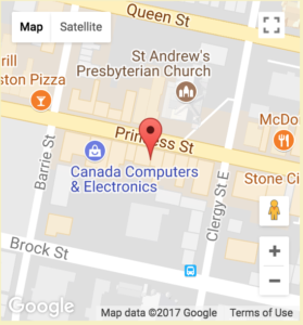 map of Gallery Raymond location on Princess St, Kingston, ON