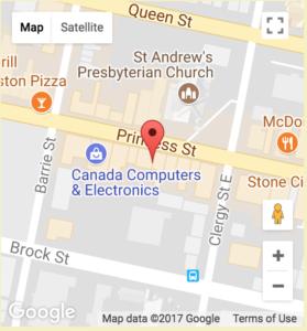 map of Gallery Raymond location on Princess St, Kingston, ON