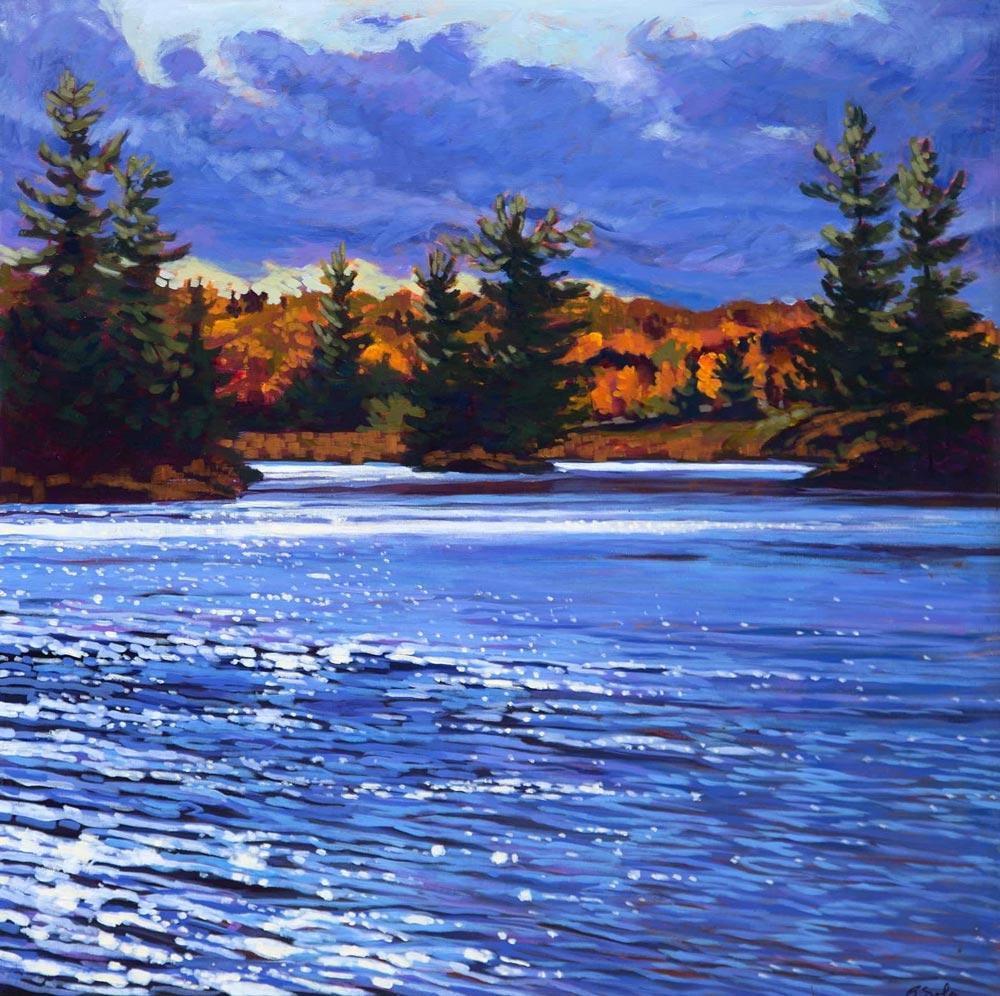 Barb Sohn--Mill Pond Clouds (Acrylic 36 X 36) $2500